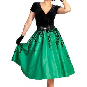 Grace & Glam Anci Green Satin Skirt