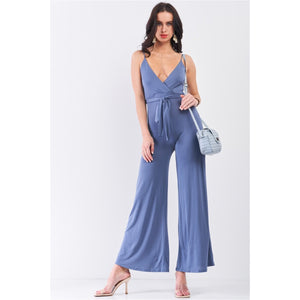 Steel Blue Sleeveless Deep Plunge V-Neck Self-Tie Waist Detail Wide Leg Jumpsuit