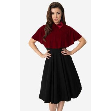 Unique Vintage Burgundy Red Velvet Collar Lois Capelet