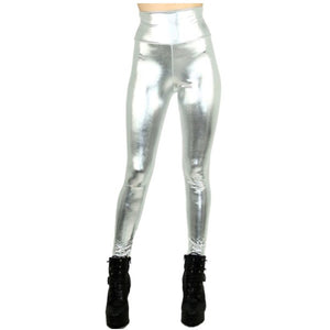 Silver metallic high waisted leggings