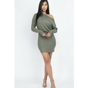 Off the shoulder mini dress-Sage green