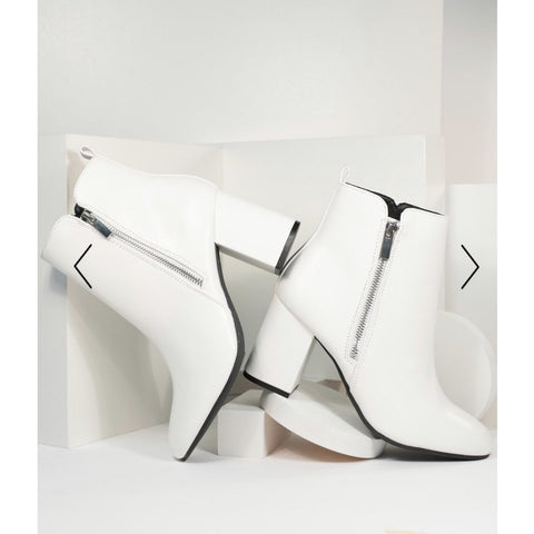 1960s Style White Leatherette Ankle Booties