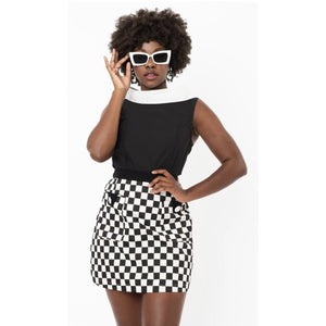 1960s Black & White Collar Mod Top