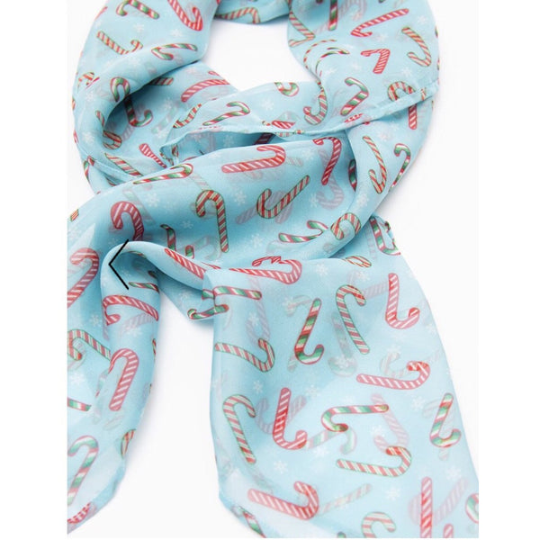Unique Vintage Pin-Up Candy Cane Print Chiffon Hair Scarf