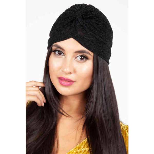 Leila Black Sparkle Turban