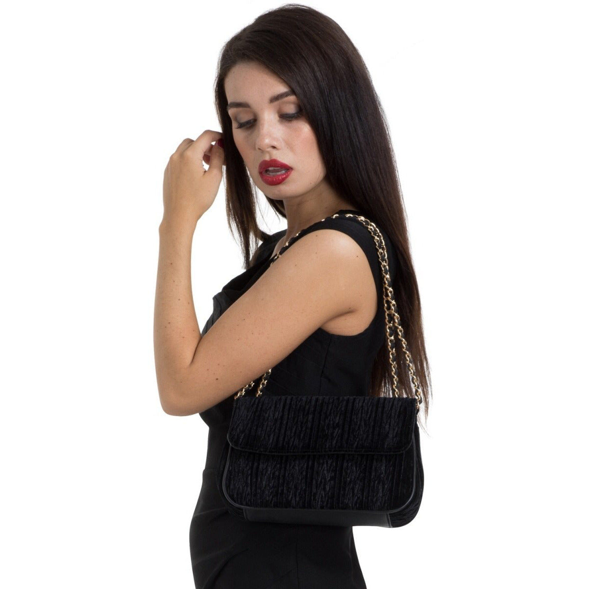 Velvet Evening Bag With Mirror Black