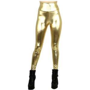 Shiny Metallic High Waisted Leggings