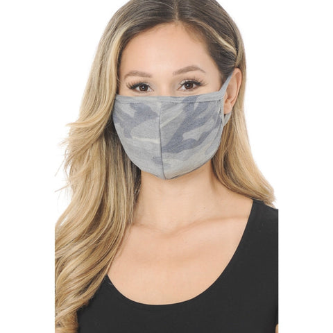 Heather Grey Camo Face Mask