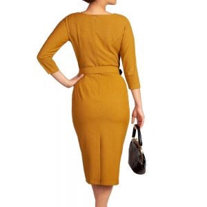MARGARET MUSTARD PENCIL DRESS
