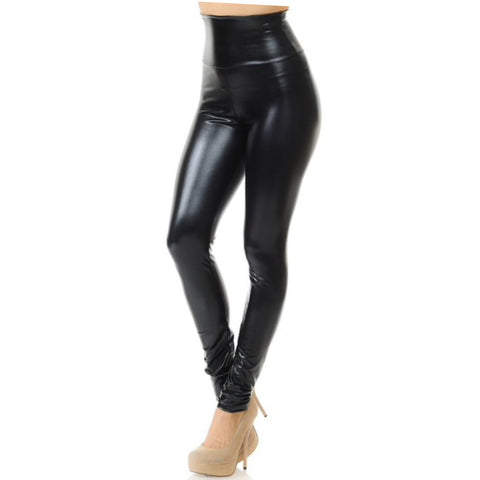 Shiny Black Faux leather Leggings S-3X