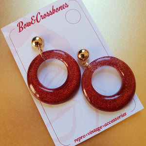 Amelia lucite confetti hoop earrings - Rust