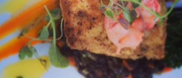 Pan Seared Halibut & Prawns with braised lentils