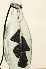 Black Triangular Fused Glass Cascade Necklace