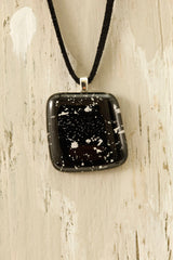 Black Fused Glass Pendant