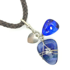 Blue Glass Charm Necklace