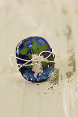 Blue and Green Wire Wrapped Fused Glass Ring Size 54