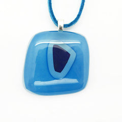 Blue & Navy Tone Fused Glass Pendant