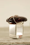 Brown Wire Wrapped Fused Glass Rings