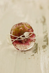 Heather Wire Wrapped Fused Glass Ring Size 52