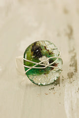 Forest Green Wire Wrapped Fused Glass Ring Size 50