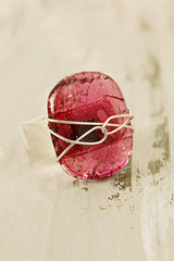 Fuschia Wire Wrapped Fused Glass Ring Size 58