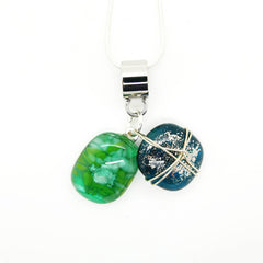 Green and Teal Glass Charm Necklace