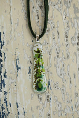 Green & Brown Blossom Fused Glass Pendant