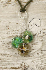 Greens 3 Piece Split Ring Fused Glass Necklace