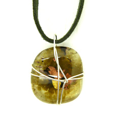 Sage wired Glass Pendant