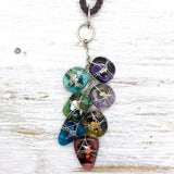 7 Piece Fused Glass Cascade Necklace