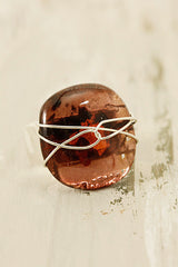 Russet Wire Wrapped Fused Glass Ring Size  57
