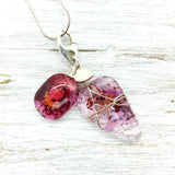 Pink Glass Charm Necklace