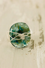 Smokey Turquoise Wire Wrapped Fused Glass Ring Size