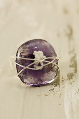 Amethyst Wire Wrapped Fused Glass Ring Size