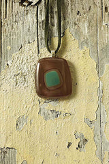 Brown & Green Tone Fused Glass Pendant
