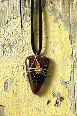 Brown Wire Wrapped Triangular Pendant