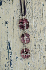 Clover Wire Wrapped 3 Drop Necklace