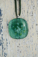 Green Plain Fused Glass Pendant