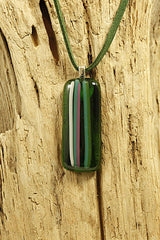 Green Stripey Fused Glass Pendant