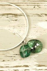 Greens Wire Wrapped Fused Glass and Silver Charm Bangle