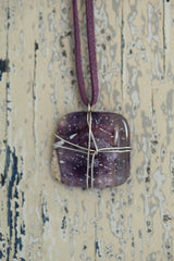 Lilac Regular Wire Wrapped Glass Pendant