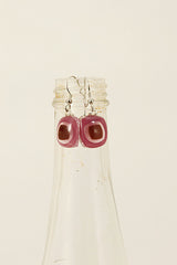 Pink and Brown Tone Fused Glass Drop Earrings