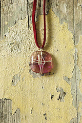 Pink Small Wire Wrapped Glass Pendant