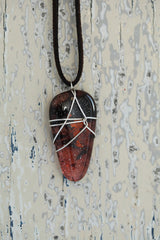 Rust Wire Wrapped Triangular Pendant