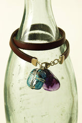 Teal & Purple Leather Wrap Glass Bracelet