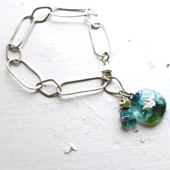 Turquoise Glass and Stone Bracelet