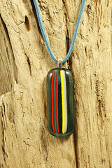 Turquoise Stripey Fused Glass Pendant
