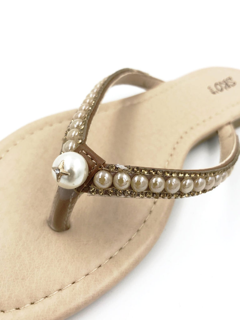 Brown Diamante Flip Flops
