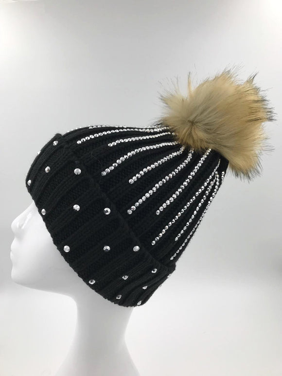 Black Diamante Fur Pom Hat