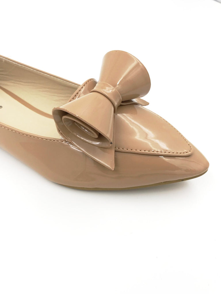 Beige Flat Pointy Bow Shoes